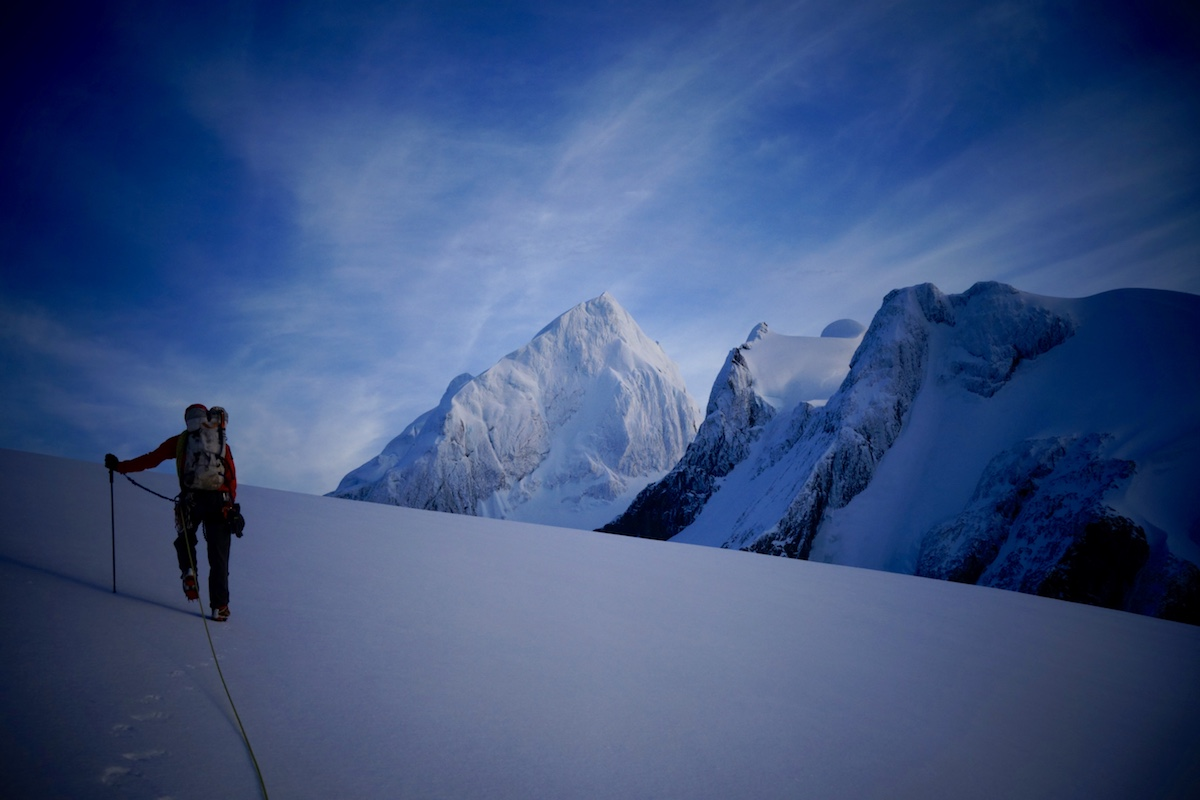 Griffin hikes toward Alas de Angel Sur on the team's last attempt. [Photo] Whitney Clark