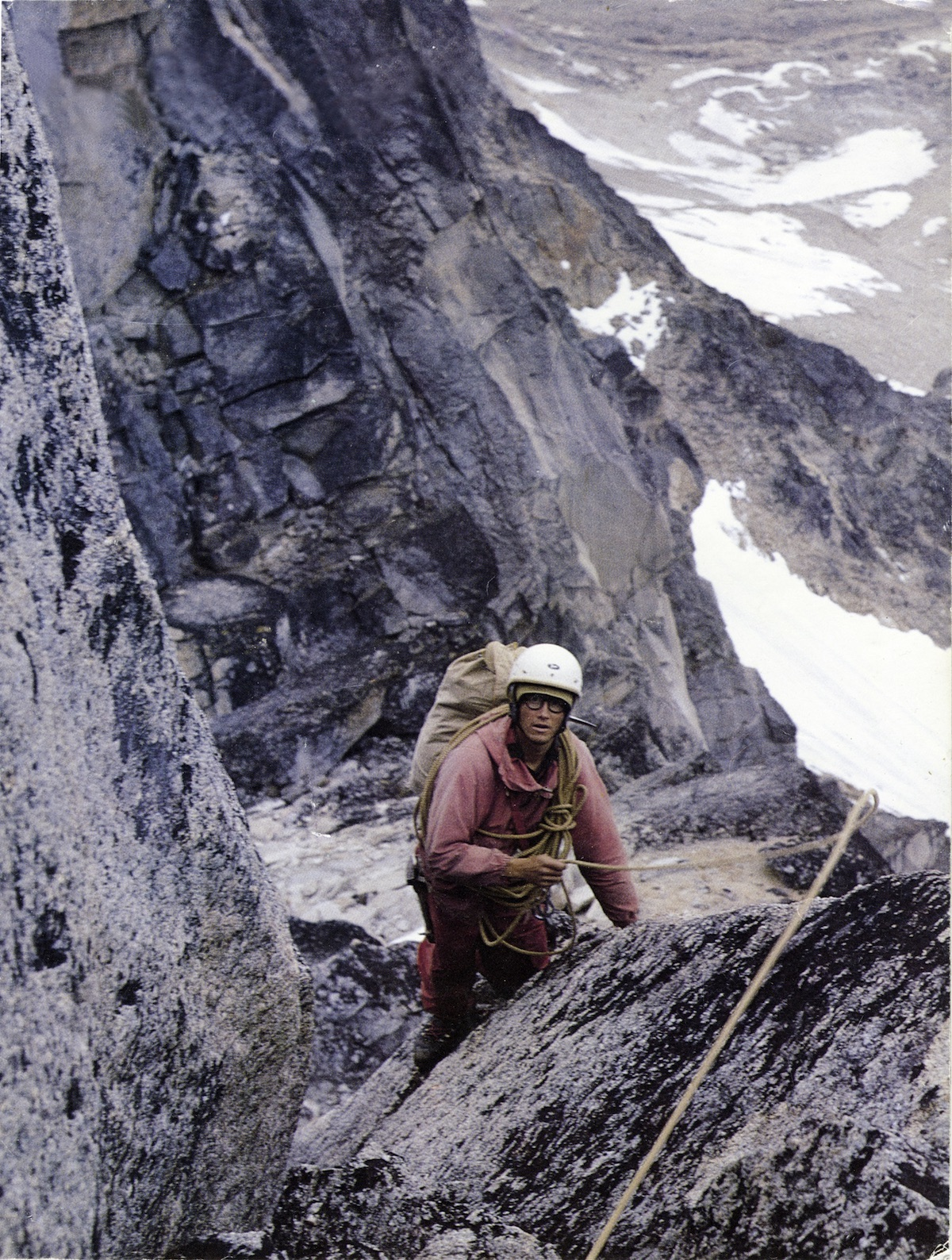 David Roberts on south ridge of the Angel, Revelation Mountains, Alaska, 1967. Roberts wrote about the eventful expedition in the 1968 American Alpine Journal. [Photo] Matt Hale