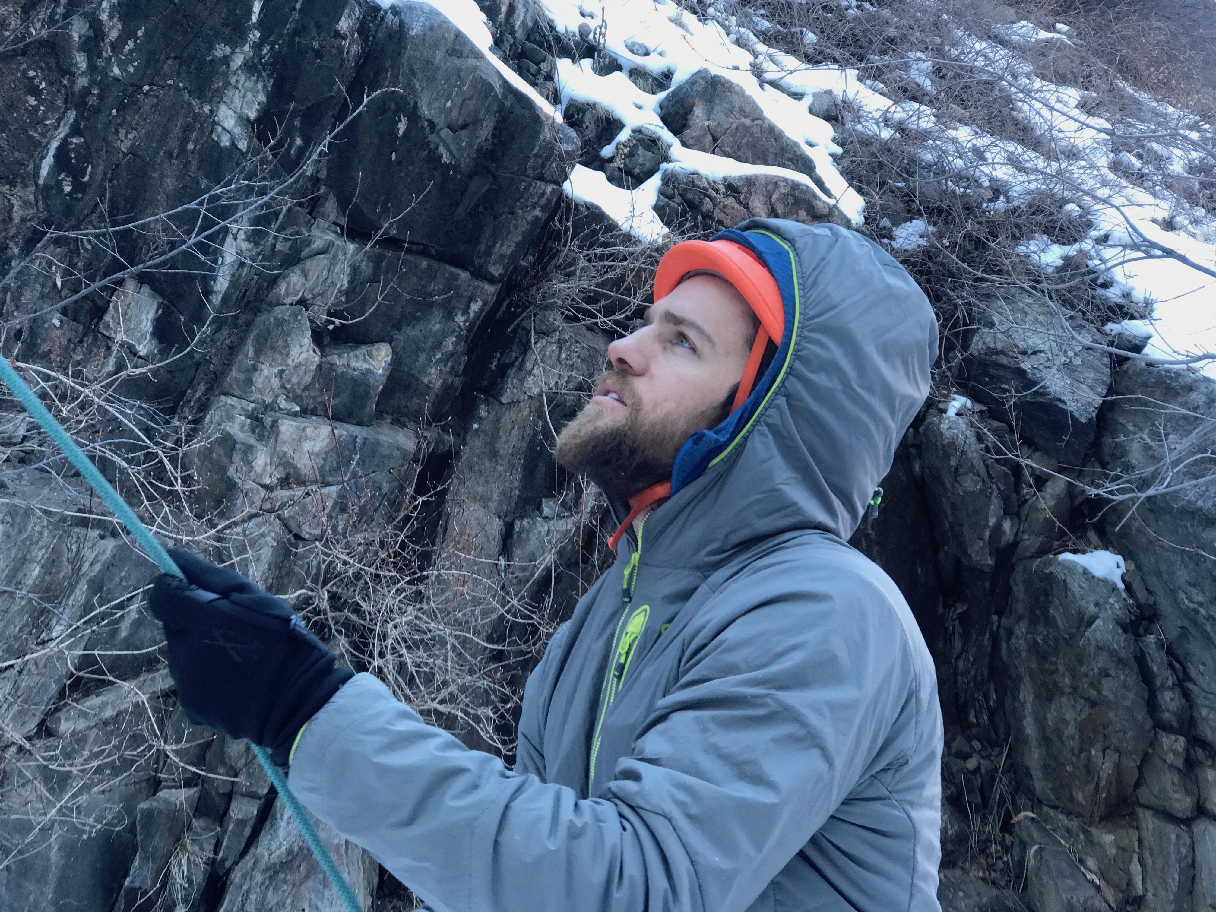 Scott Yorko on belay duty in Clear Creek Canyon, Colorado. [Photo] Chris Van Leuven