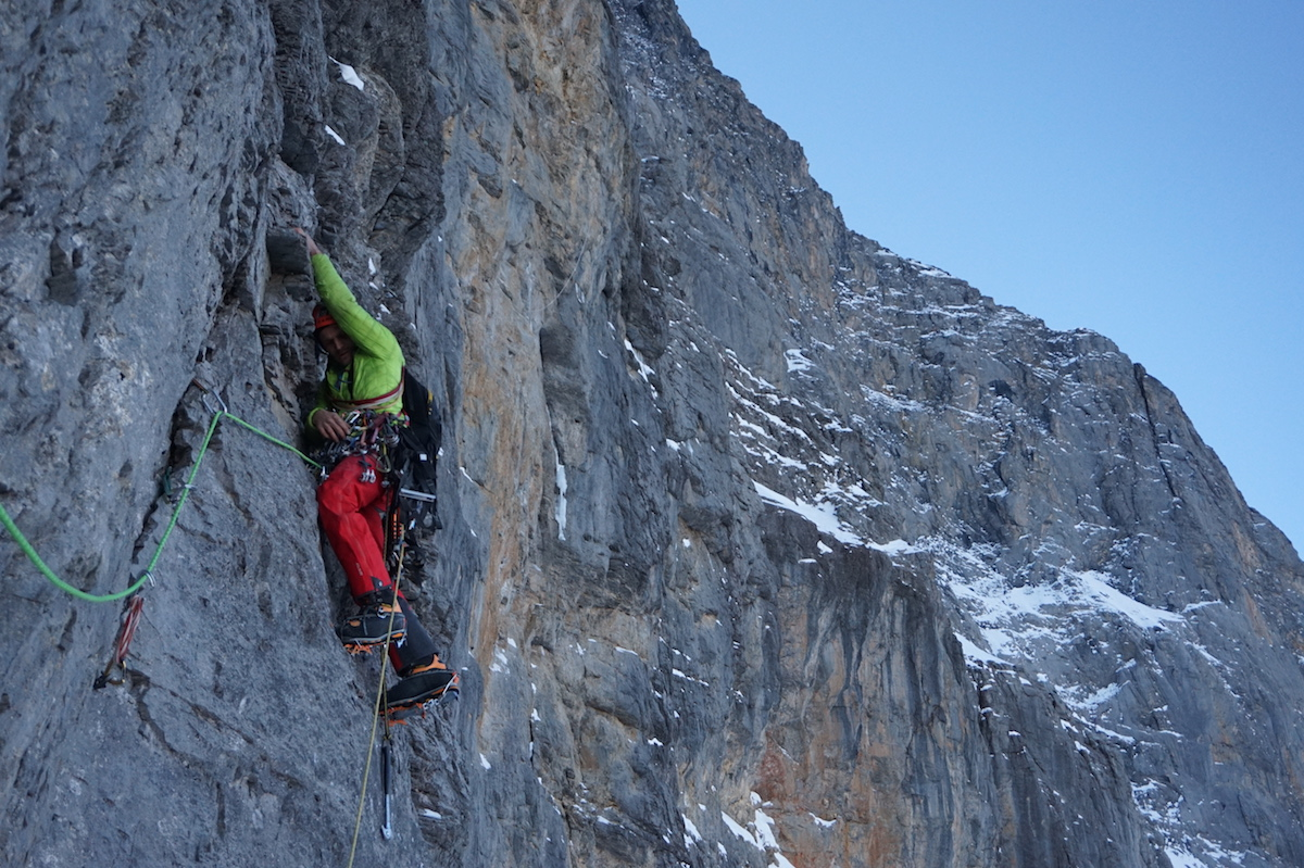 Marcin Tomaszewksi leads a pitch during the first ascent of Titanic (M5 5.10c A3 WI4, 1800m) on the North Face of the Eiger (3970m), which he completed with Tom Ballard on November 30 to December 6. [Photo] Tom Ballard