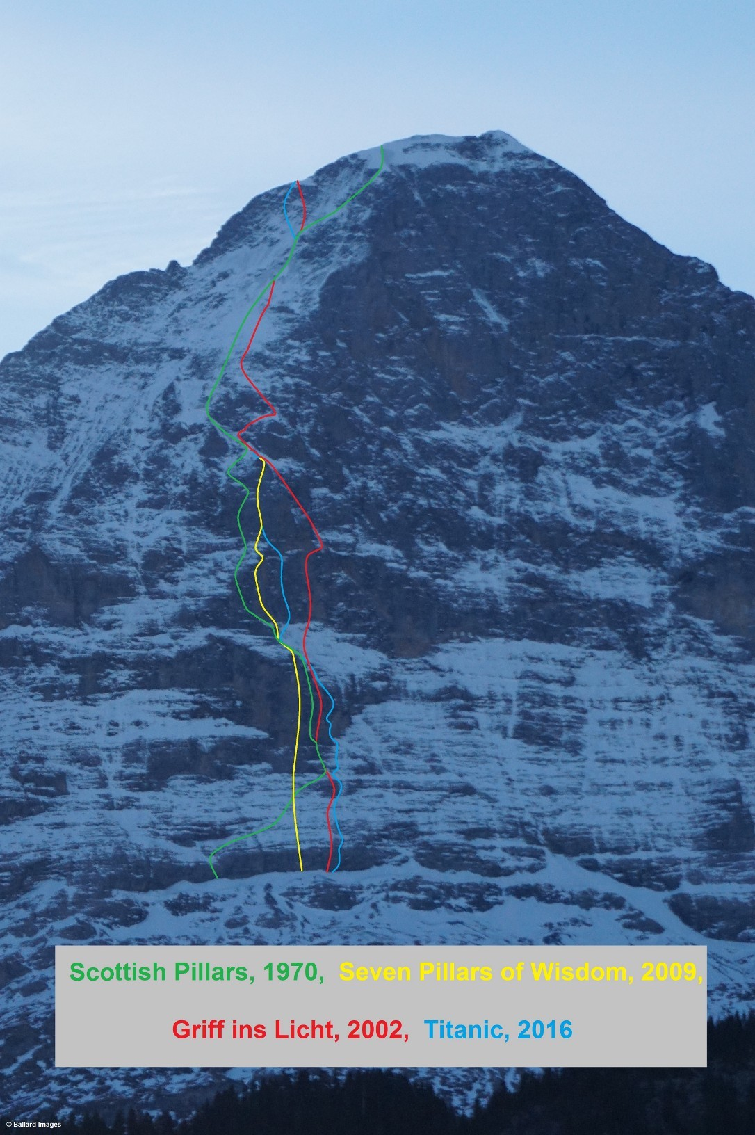 Tom Ballard's updated map of the Eiger's North Pillar routes. Titanic is shown in blue. Ballard said he discovered inaccuracies about the exact lines of these routes as they appear in other sources.* [Photo] Tom Ballard