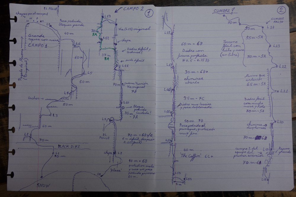 A hand-drawn topo of the route that includes free-climbing variations from the original line. [Photo] Courtesy of Nico Favresse, Siebe Vanhee and Sean Villanueva O'Driscoll