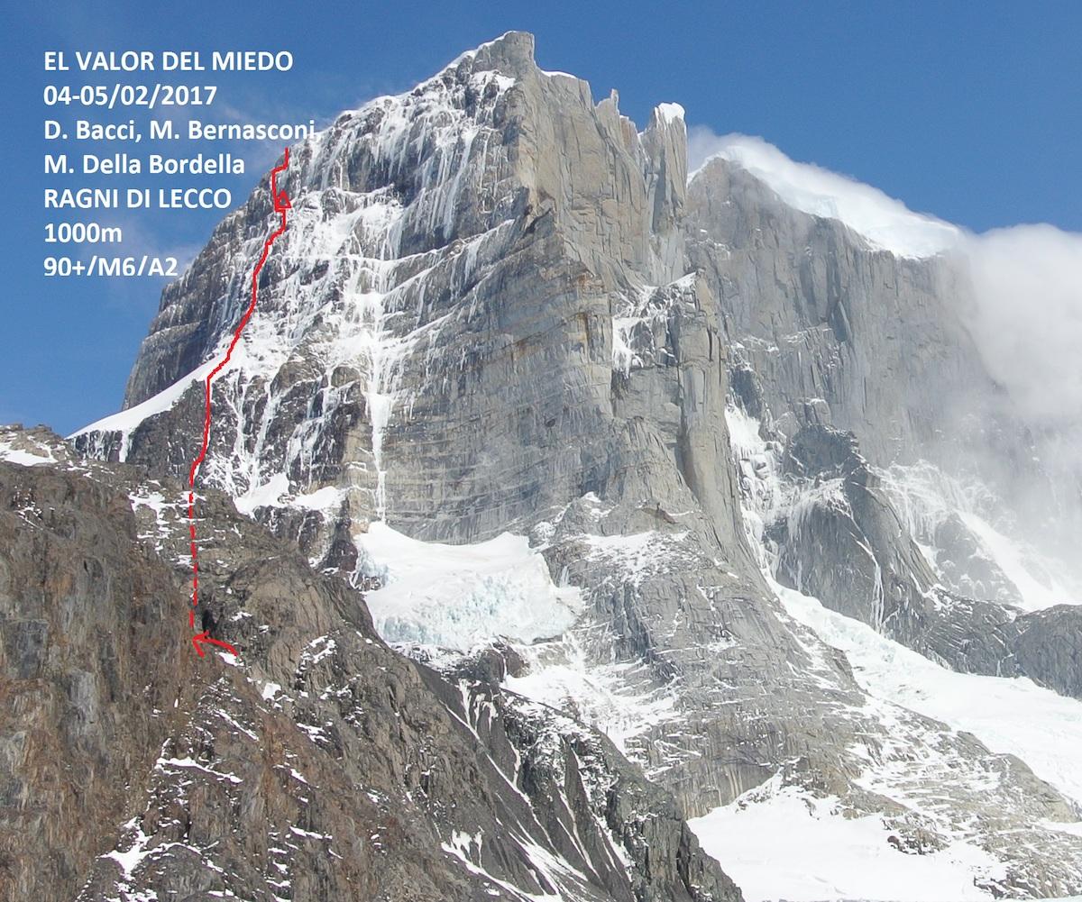 El Valor del Miedo (M6 A2 90+ degrees, 1000m) on Cerro Murallon's east face is marked in red.[Photo] Ragni di Lecco
