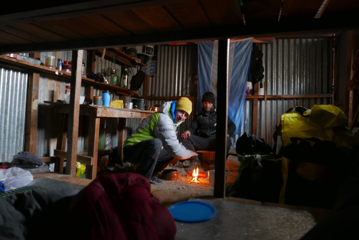 Bordella and Bacci prepare dinner at Refugio Pascale, where they spent a total of four weeks. [Photo] Matteo Bernasconi