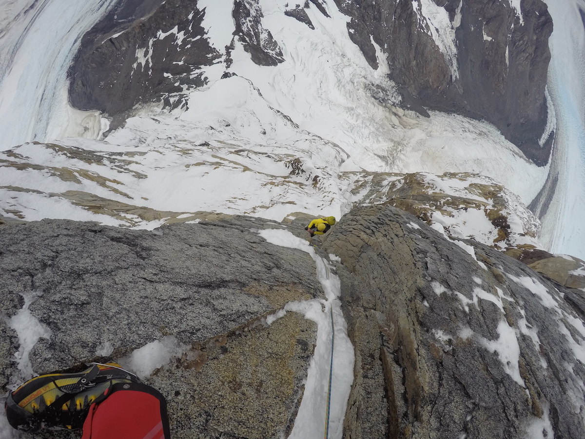 Looking down from the last belay station of the route. [Photo] Matteo Della Bordella