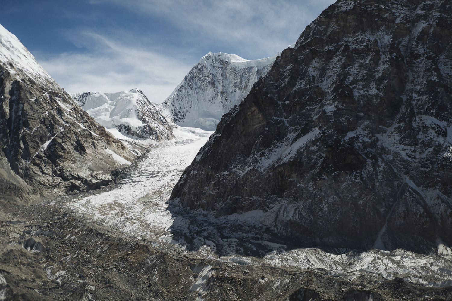 This photo shows Gimmigela East (7005m) from a vantage point above the team's base camp. Auer wrote, Our plan of putting up a base camp with a direct view to the mountain was shut down by our porters. They all stopped in Camp Pangpema, the base camp for Kangchenjunga (8586m). We convinced five of them to shuttle up our loads a little bit higher during a few days. [Photo] Elias Holzkenecht