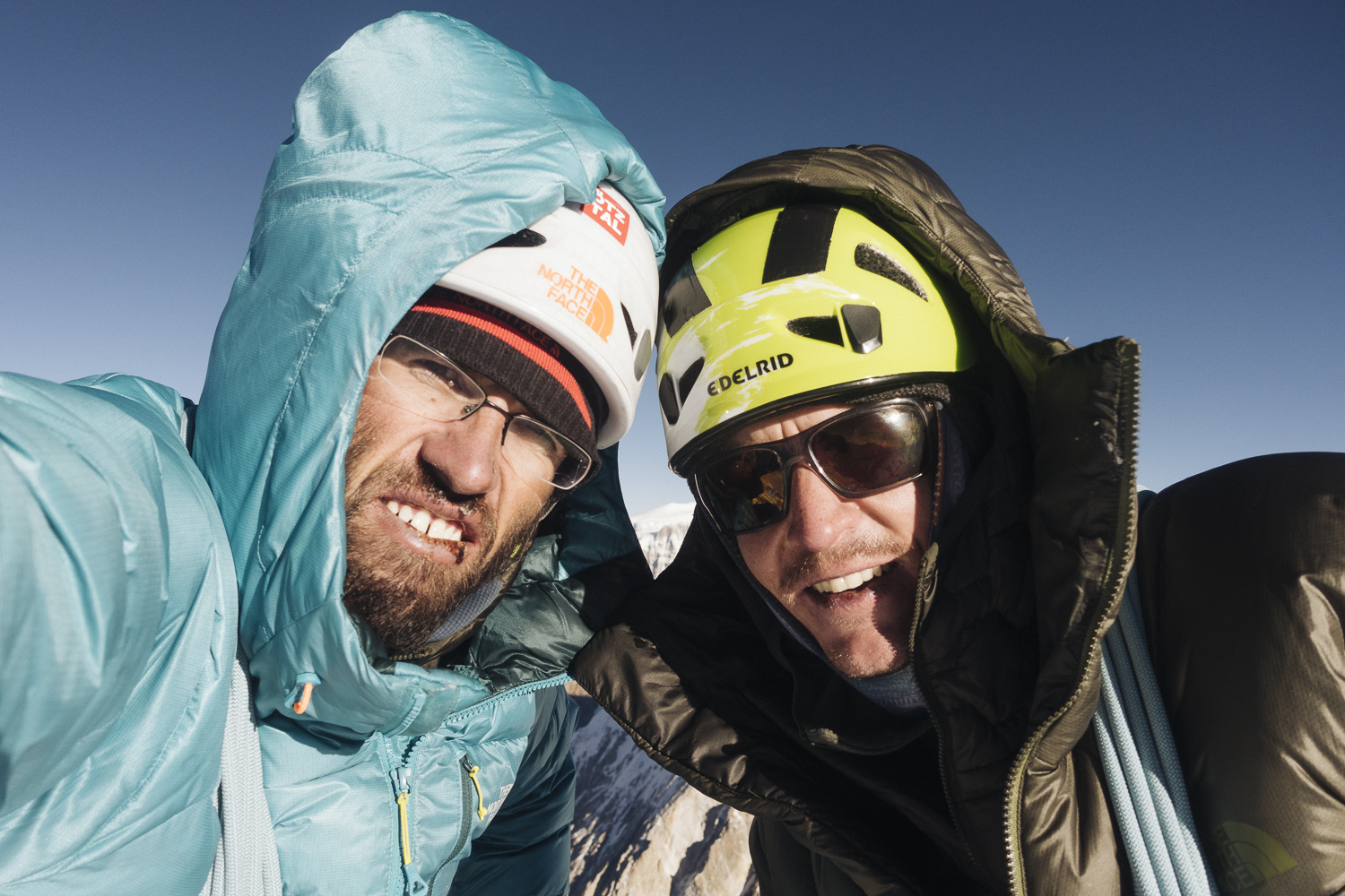 Summit shot with Auer, left, and Blumel. [Photo] Hansjorg Auer