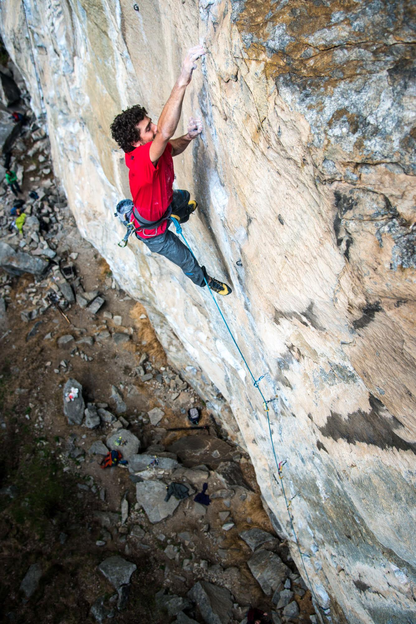 Larcher runout and mid-crux on Gondo Crack. [Photo] Richard Felderer