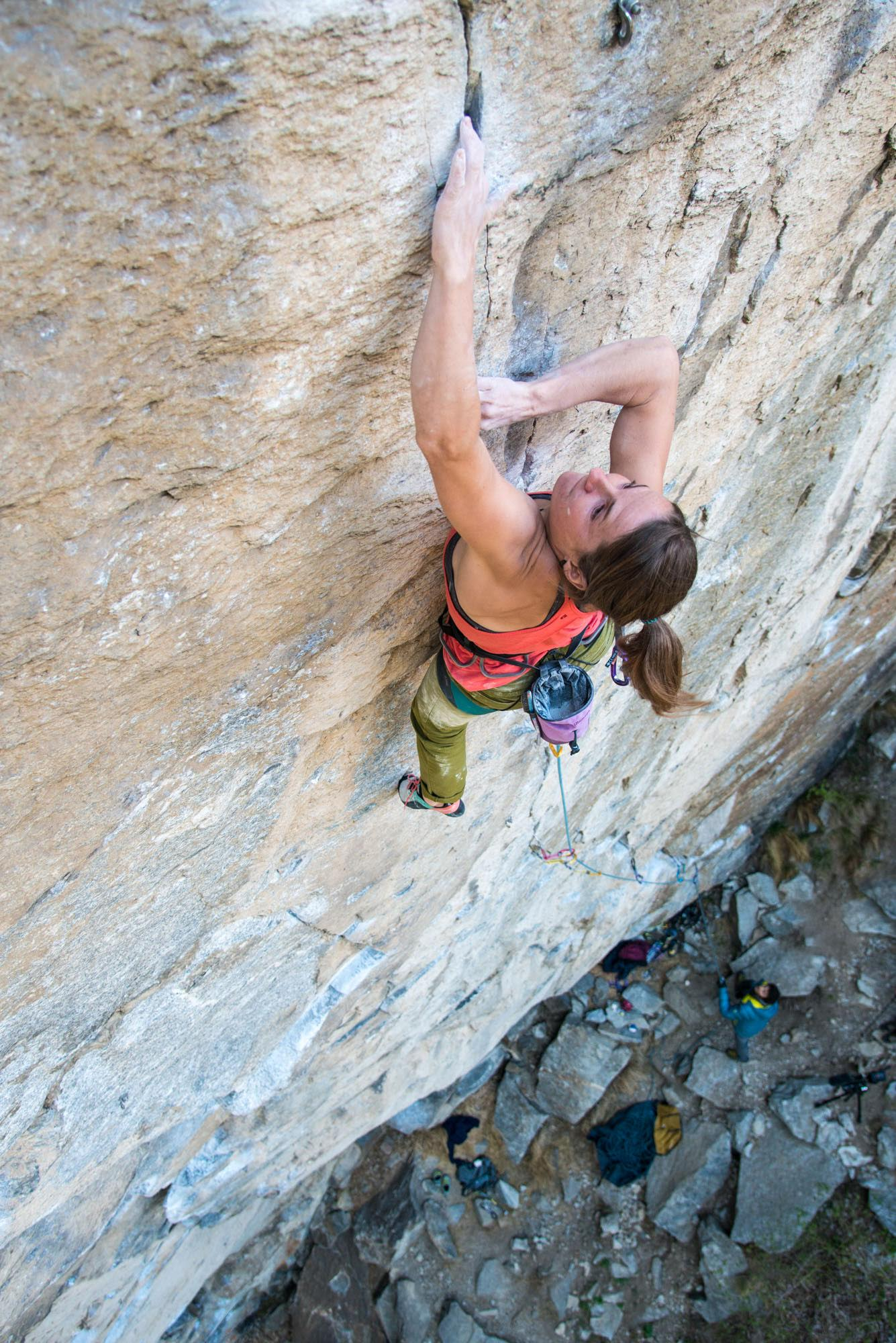 Zangerl sets up for the crux moves. [Photo] Richard Felderer