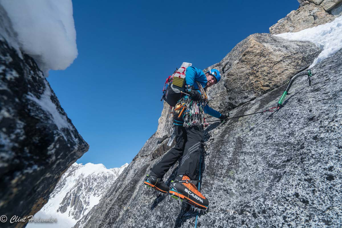 Roskelley begins an incredible section of mixed climbing on the third tower on Day 3. [Photo] Clint Helander