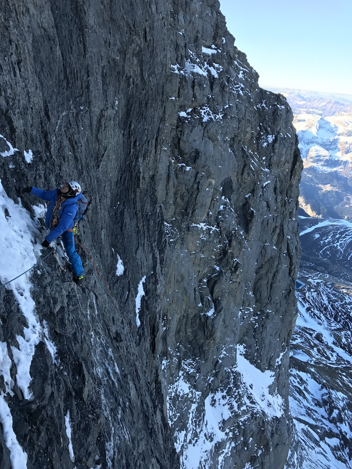 Siegrist climbs the third pitch above the central ledge. [Photo] Archive Metanoia