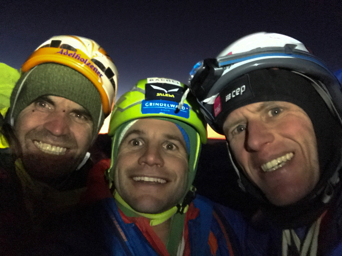 From left to right, Huber, Schaeli and Siegrist smile after completing the second ascent of Metanoia more than 25 years after Jeff Lowe established the legendary route that became a turning point in his life. [Photo] Archive Metanoia