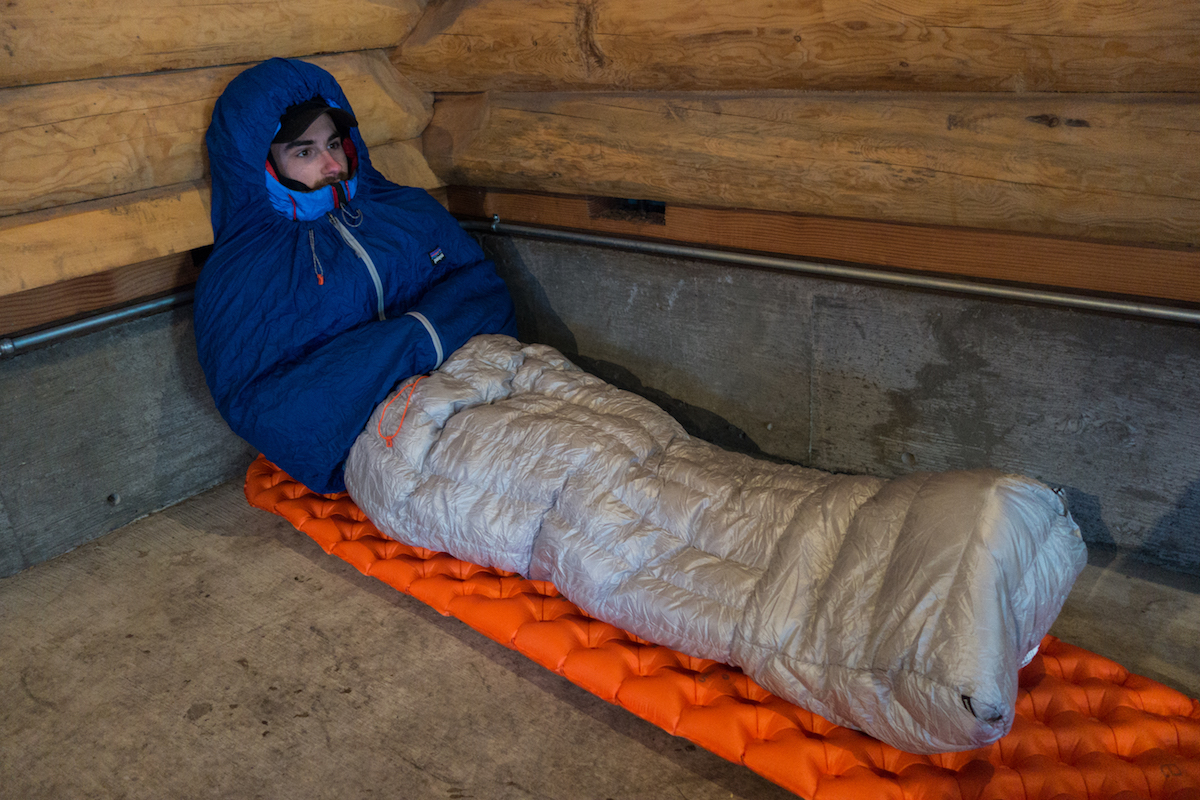 The Author Before A Night At Large Shelter Outside Crater Lake National Park Oregon Geoff Lyman Models Patagonia Hybrid Sleeping Bag