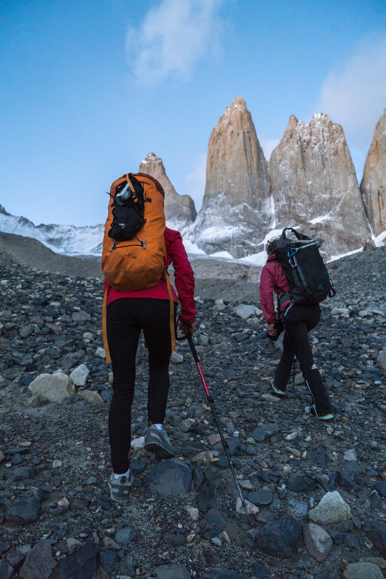 Approaching the Torres del Paine: Torre Central is in the middle. [Photo] Drew Smith
