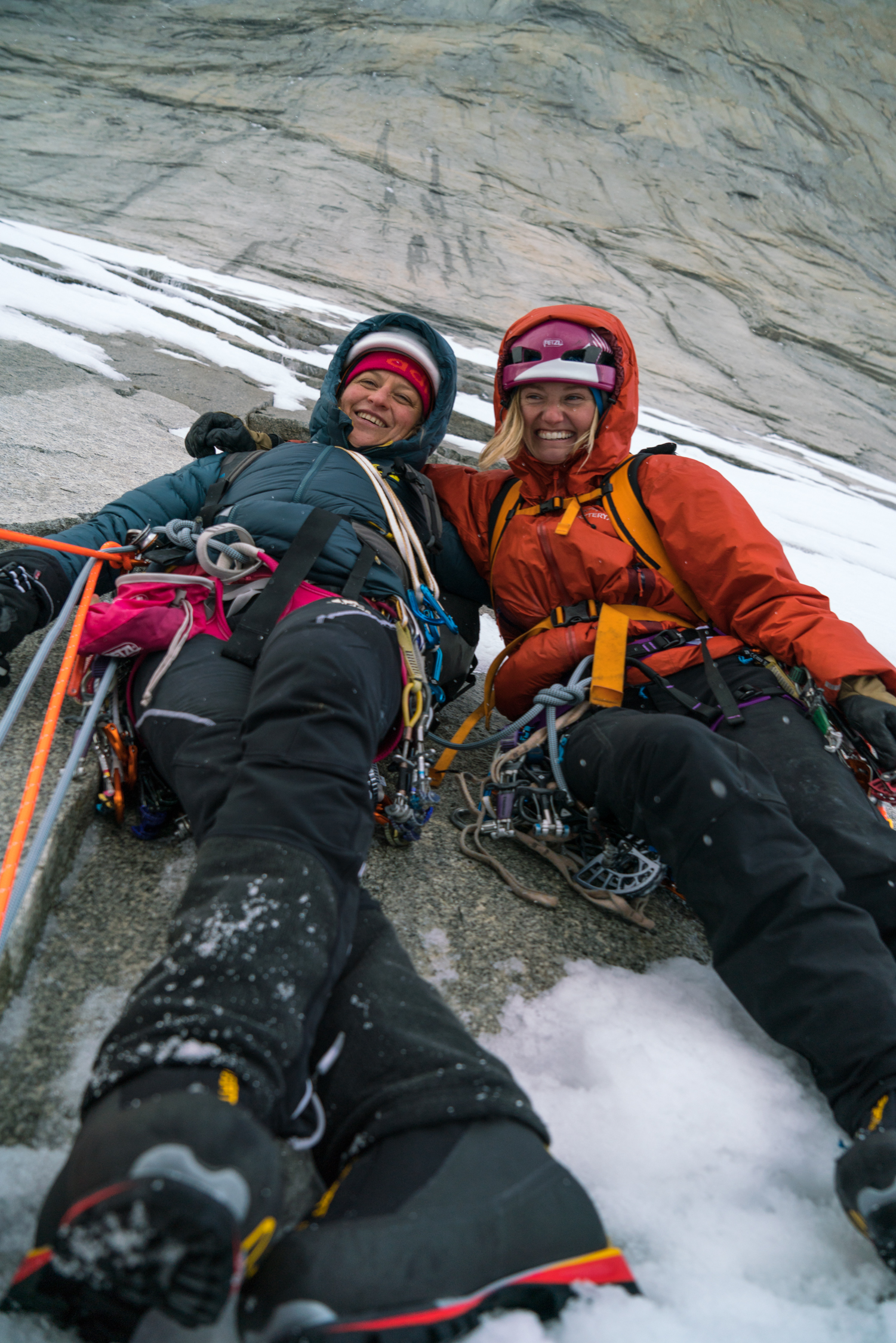 Smith-Gobat and Harrington manage to keep smiling in spite of the icy slabs on the lower part of the route that dashed all hope for making a complete free ascent. [Photo] Drew Smith