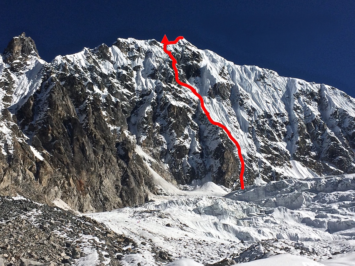 Mirhashemi and Pugliese climbed Mixed Emotions (M6 AI5, 80 degrees, 900m) on the West Face of Chugimago (6258m) on November 1-2. [Photo] Mark Pugliese