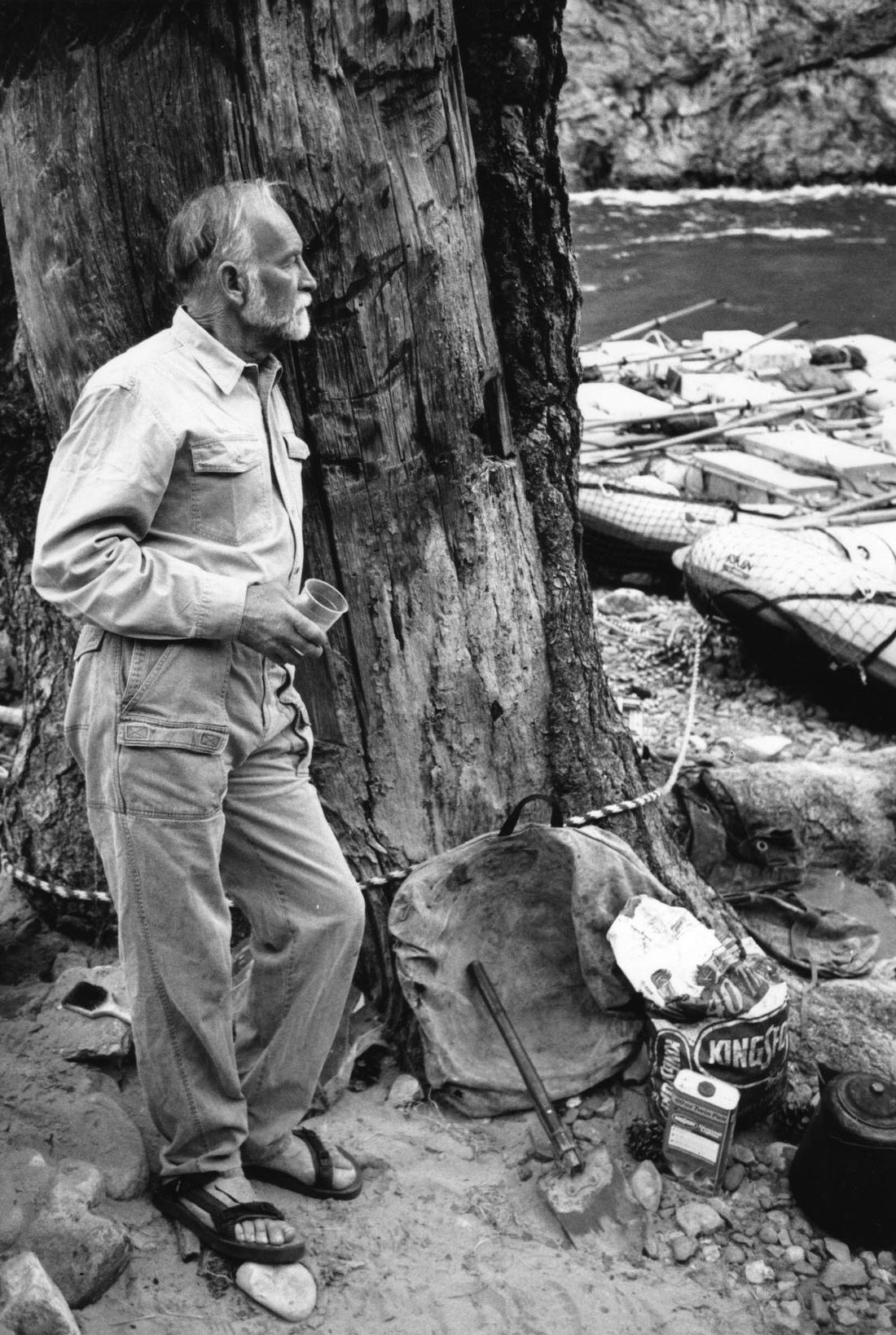 Robbins at the Middle Fork of the Salmon River in Idaho. He guided Royal Robbins employees on the classic, seven-day, self-supported kayak trip on an annual company retreat. [Photo] Robbins family collection