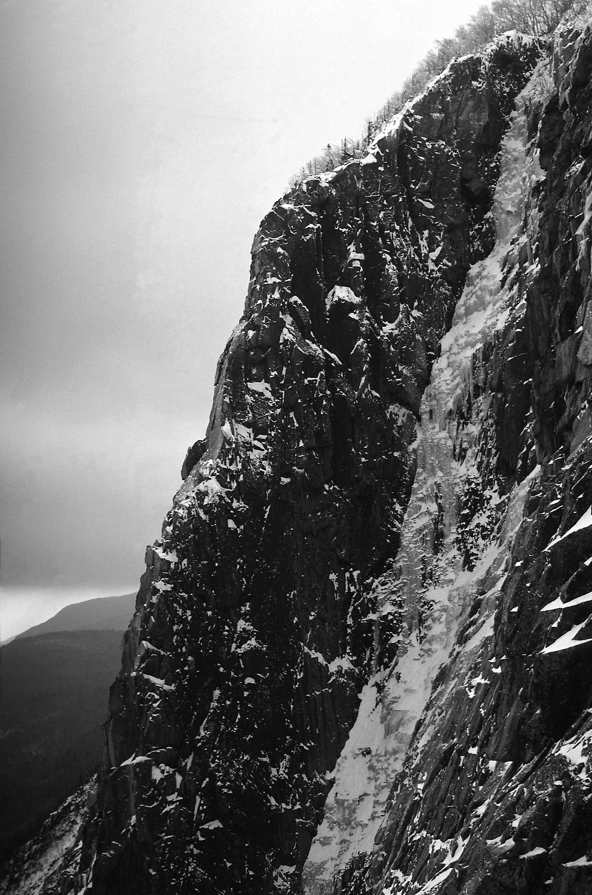 The Black Dike, Cannon Cliff, New Hampshire, 1970s. Laura Waterman was the first woman to climb the route, four years after John Bouchard's 1971 first ascent. [Photo] Ed Webster