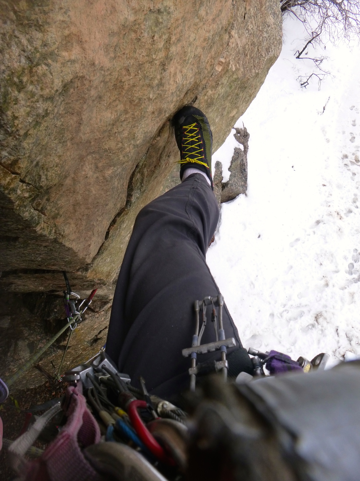 The La Sportiva TX2 shoes performed well on this wet, overhanging pitch in the Glenwood Canyon, Colorado, which entailed aid and free climbing (5.6 C1+). [Photo] Derek Franz