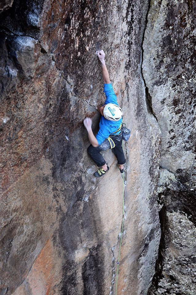 Kurakami posted this photo to his Facebook page on April 16, the day he sent The Votive Light (5.13d/14a R), which is a 15-meter extension to a previously existing route called Hakuhatsuki (5.13d R) that ended at the bolted anchors to the left of him in the photo. He did not clip the bolts while leading to the top of the cliff. [Photo] Courtesy Keita Kurakami