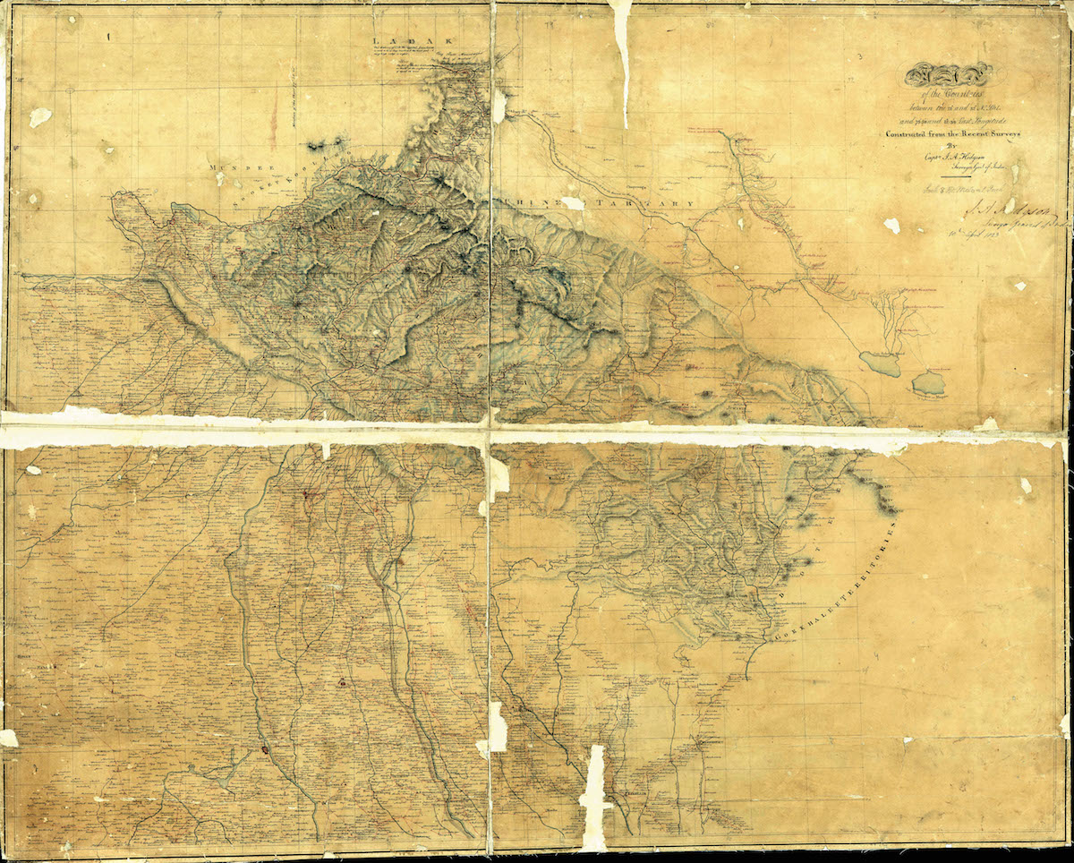 The Hodgson survey map of 1823. Just northwest of the region labeled as Juwahir near the horizontal tear across the middle of the map, Peak XIV (Nanda Devi) appears marked as A No. 2, 25,580 ft. [Photo] Courtesy of the PAHAR Mountains of Central Asia Digital Dataset