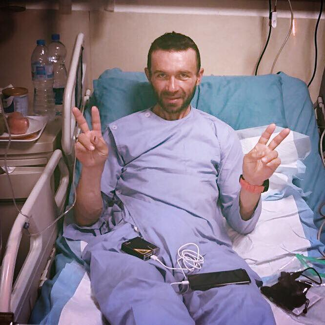 Gukov in the hospital with all his body parts. [Photo] Courtesy of Anna Piunova and Mountain.RU