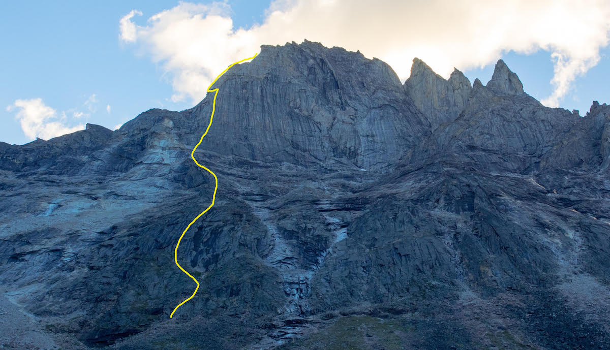 The team's yet-to-be-named route on the east face of Caliban. [Image] Lang Van Dommelen