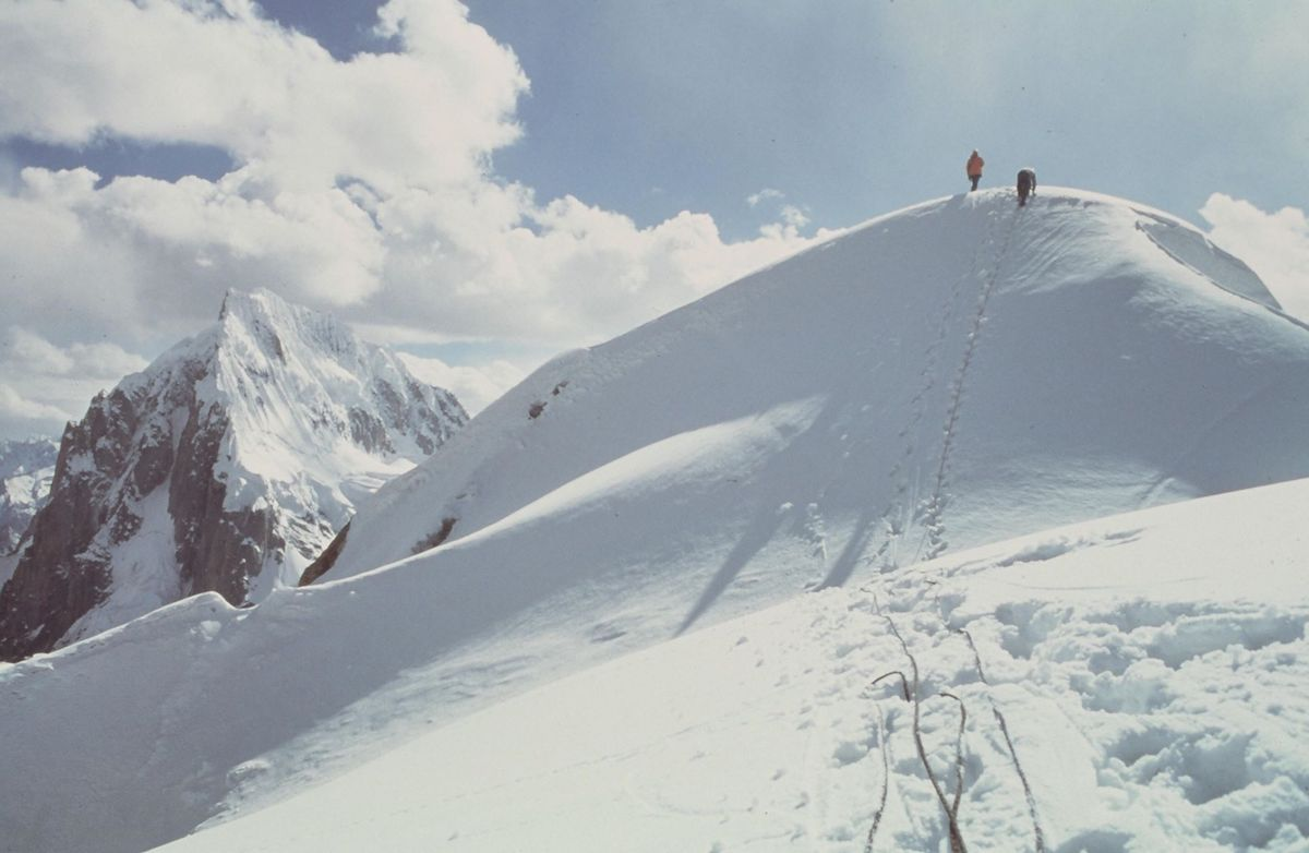 Kim and Bill Forrest reaching the summit of Uli Biaho. [Photo] John Roskelley, Kim Schmitz collection