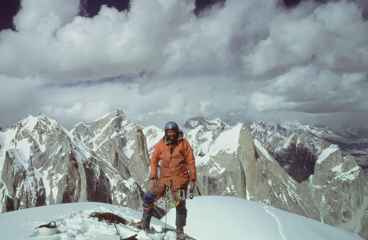 Roskelley on top of Uli Biaho. [Photo] Bill Forrest, Kim Schmitz collection