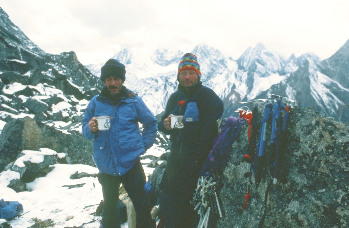 Jim Donini and Kim Schmitz at High Camp (4633m), Mt Siguniang, China, 1981. [Photo] Jack Tackle, Kim Schmitz collection