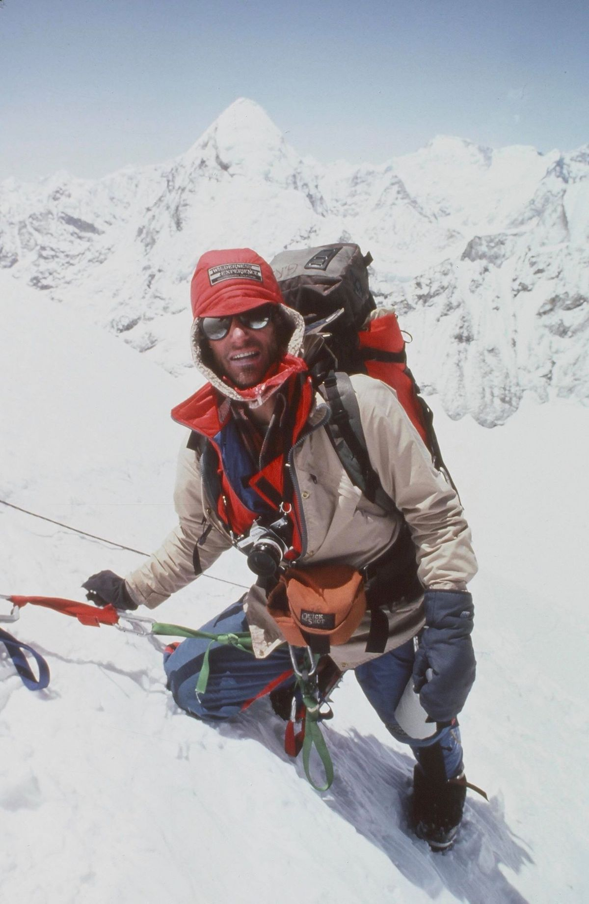 Rowell on the West Ridge of Everest in Tibet, 1983. [Photo] John Roskelley, Kim Schmitz collection