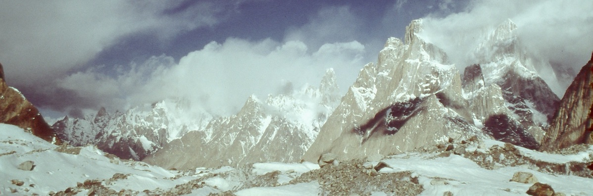 View from the Baltoro Glacier in Pakistan: Uli Biaho (left) and the Trango Towers (right). [Photo] Photographer unknown, Kim Schmitz collection
