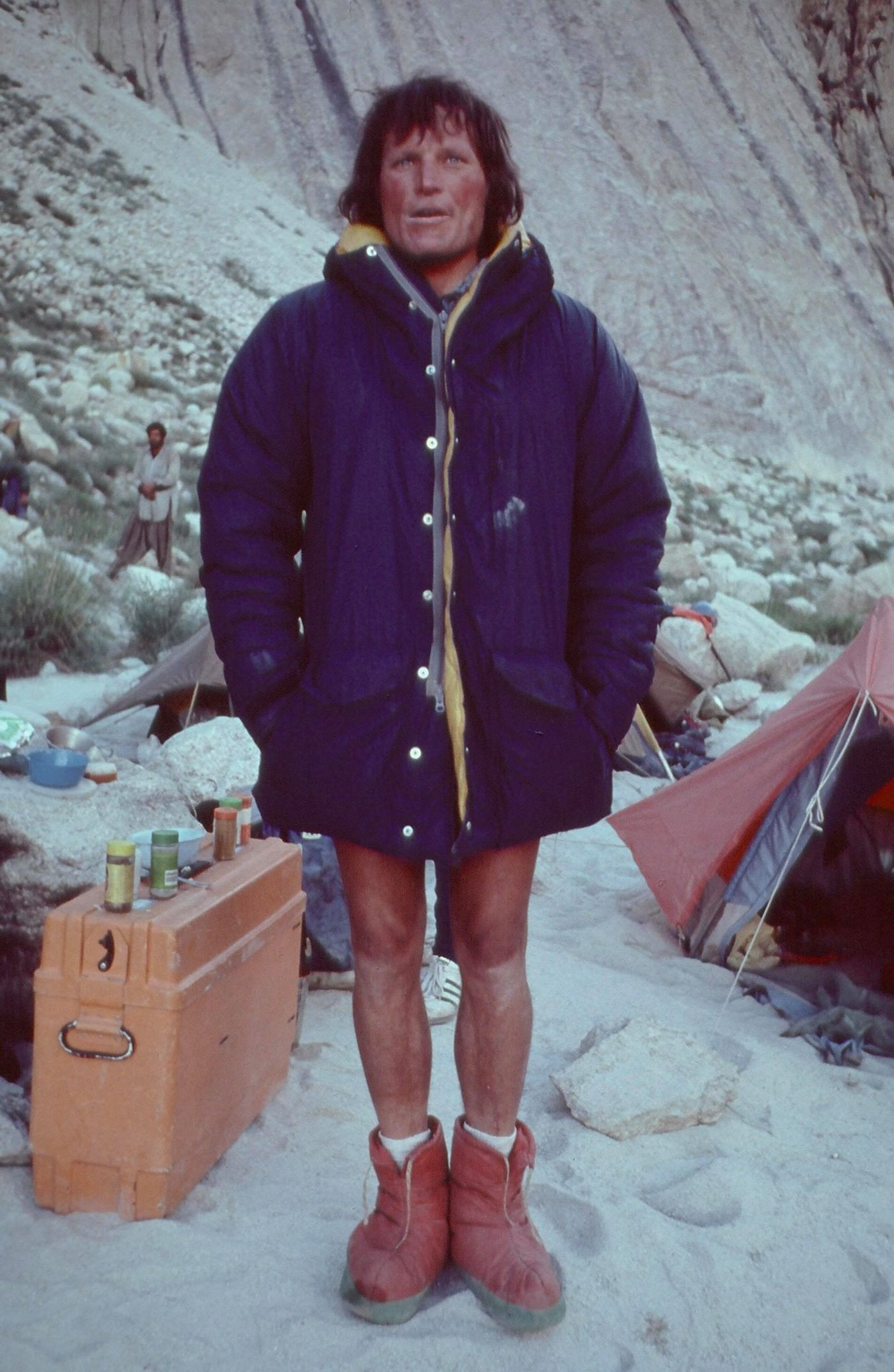 Kim at Great Trango Tower base camp, 1977. [Photo] Galen Rowell, Kim Schmitz collection