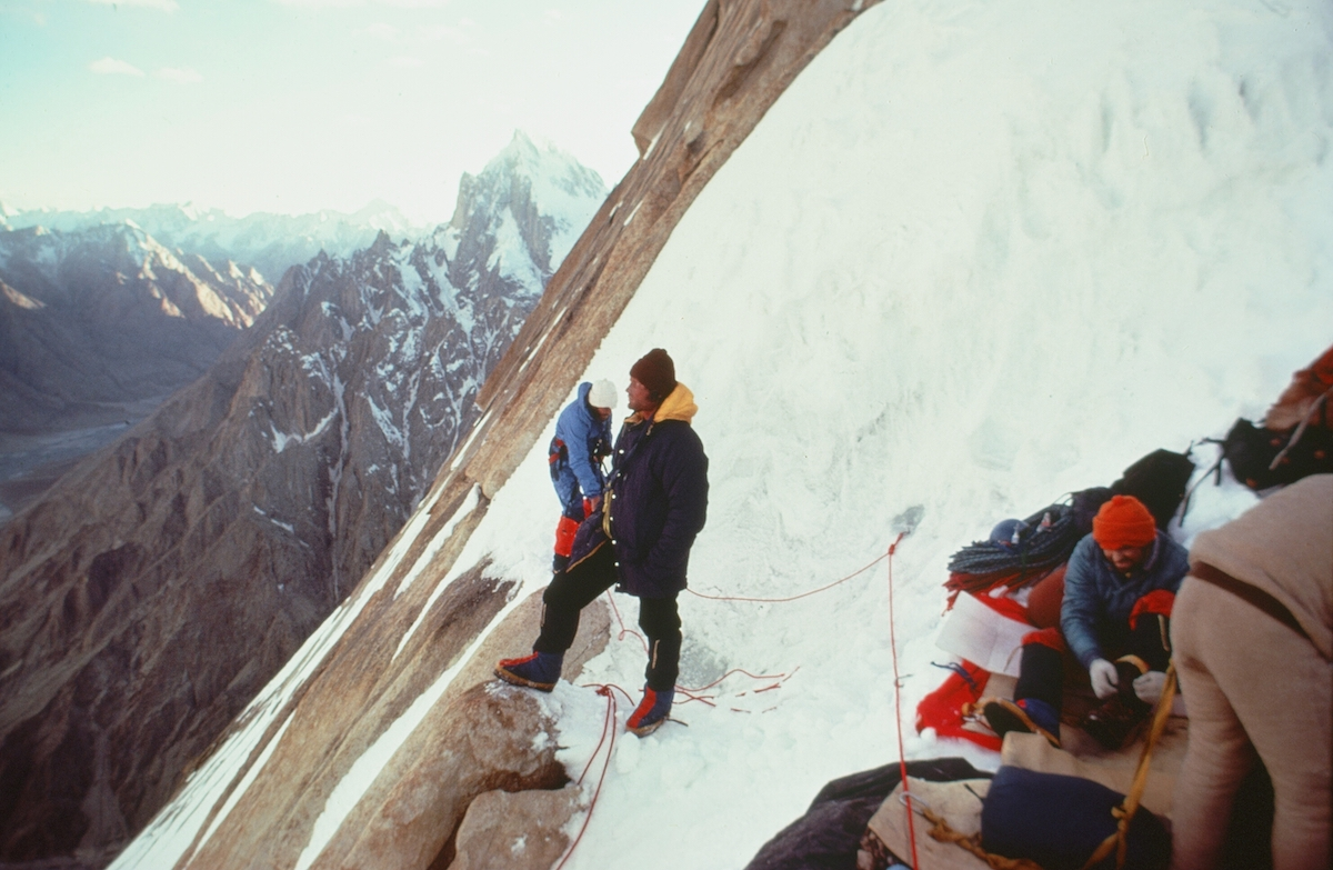 Roskelley (far left), Kim, Jim Morrissey, and Dennis Hennek (far right) on Great Trango Tower. [Photo] Galen Rowell, Kim Schmitz collection