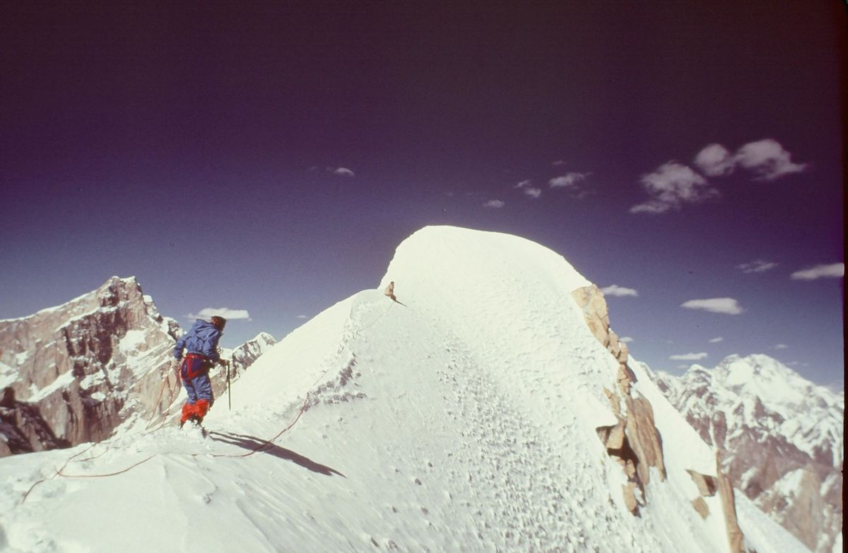 Roskelley approaching the summit of Great Trango Tower. [Photo] Galen Rowell or Dennis Hennek, Kim Schmitz collection