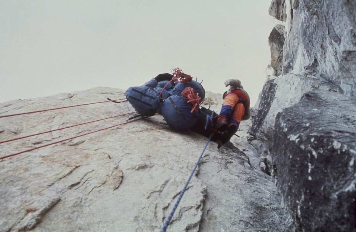 Kim with team haulbags on Uli Biaho, Pakistan, 1979 [Photo] John Roskelley, Kim Schmitz collection