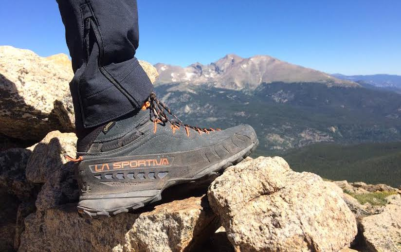 The La Sportiva TX4 Mid was a great, lightweight option for the hike to the top of Saint Vrain Mountain (12,162') in Rocky Mountain National Park, Colorado. Visible in the background, from left to right, are Chiefs Head, Longs Peak and Mt. Meeker. [Photo] Mandi Franz