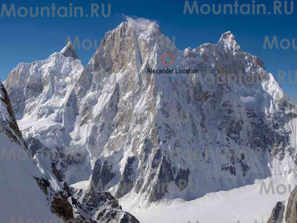 The North Ridge of Latok I with Alexander Gukov's position marked in red, where helicopters reached him July 31. [Photo] Courtesy of Mountain.RU