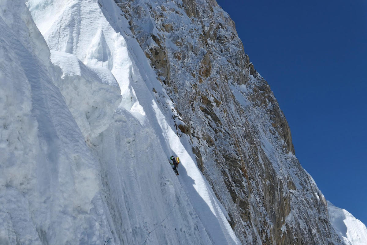 Strazar leads a traverse below snow mushrooms about halfway up the North Ridge. [Photo] Tom Livingstone