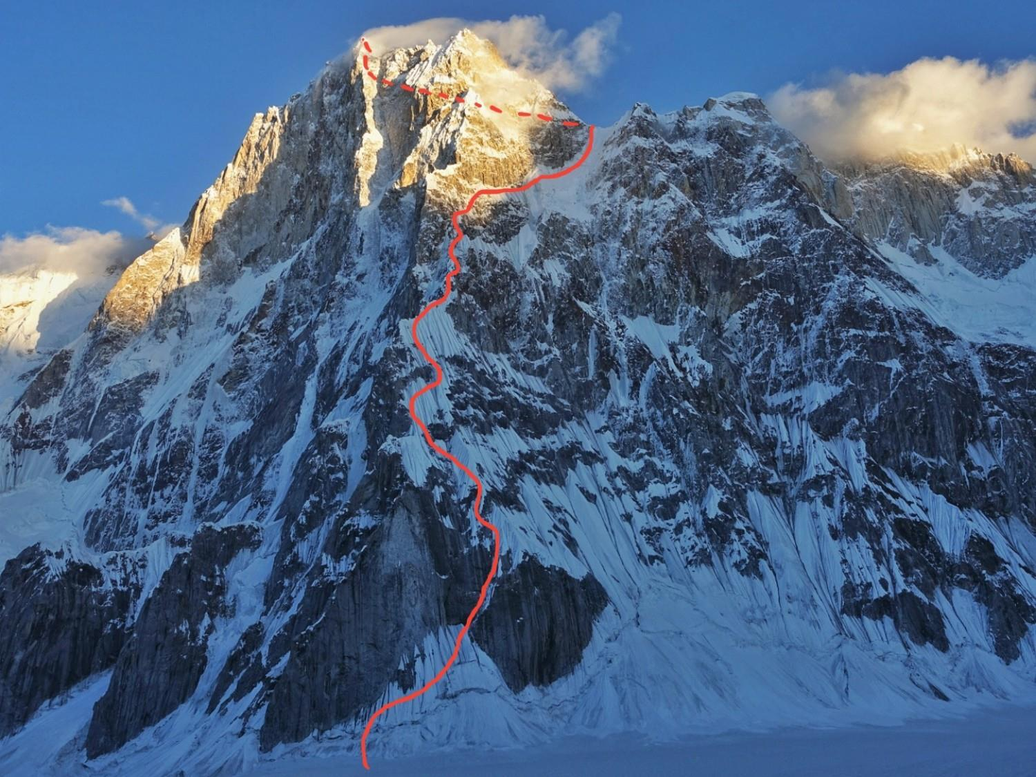 The red line shows the route taken by Cesen, Livingstone and Strazar. [Image] Tom Livingstone