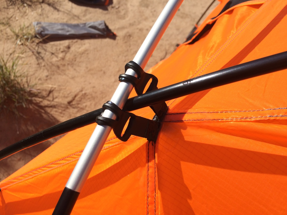 The lightweight external pole clips on the Chogori tent. [Photo] Mike Lewis