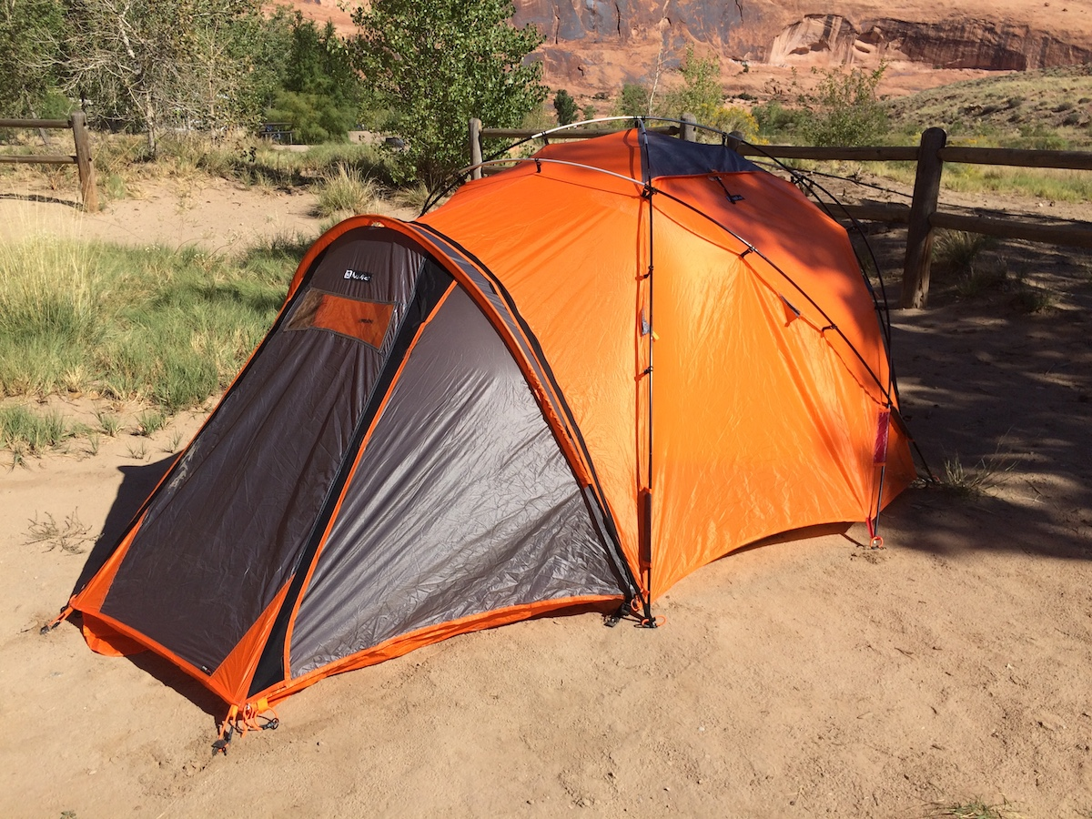 The Nemo Chogori Mountaineering three-person tent (without tie-down strings shown). [Photo] Mike Lewis