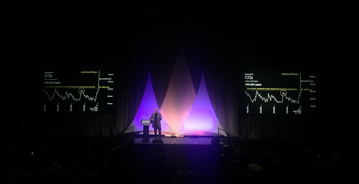 Paul Hawken delivers the keynote speech at the 2018 winter trade show. [Photo] Sara Aranda