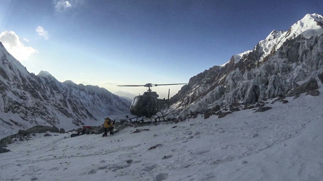 The Askari Aviation helicopter landing on Nanga Parbat. [Photo] Courtesy of Denis Urubko