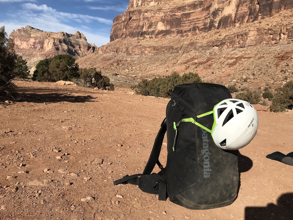 The loaded up Cragsmith 45 before taking it up to the Dylan Wall in the San Rafael Swell, Utah. A helmet easily fastens to the side clips. [Photo] Chris Van Leuven