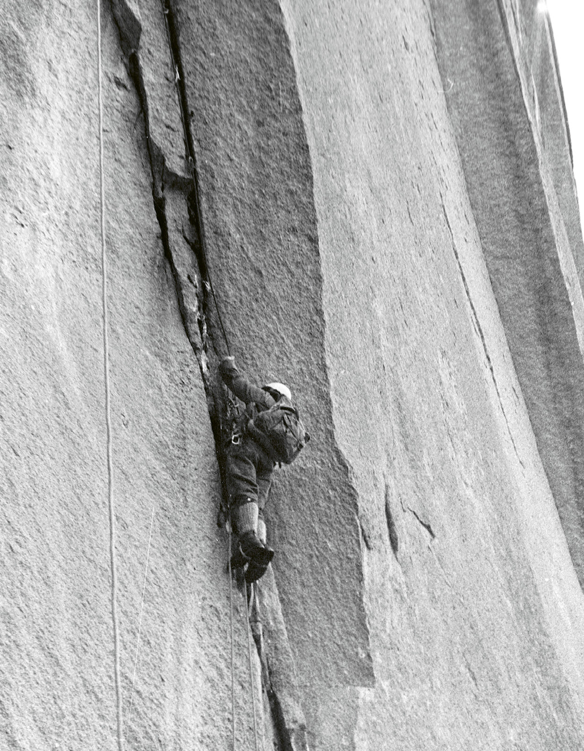 Auger on the 1966 first ascent of University Wall in Squamish. [Photo] Tim Auger collection