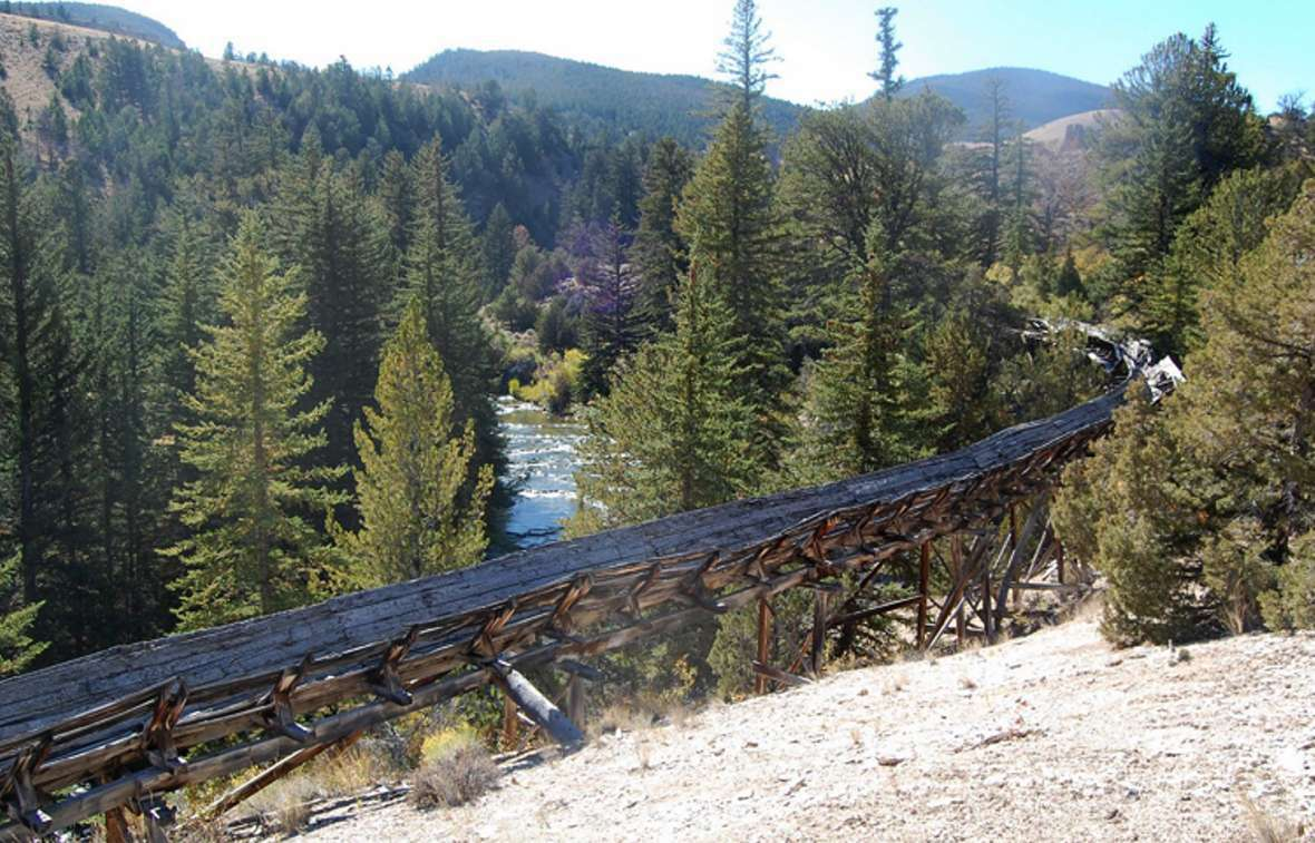 The Warm Spring Canyon flume in Bridger-Teton National Forest. [Photo] Courtesy of Elizabeth Rosenberg and Wyoming State Historical Society/WyoHistory.org