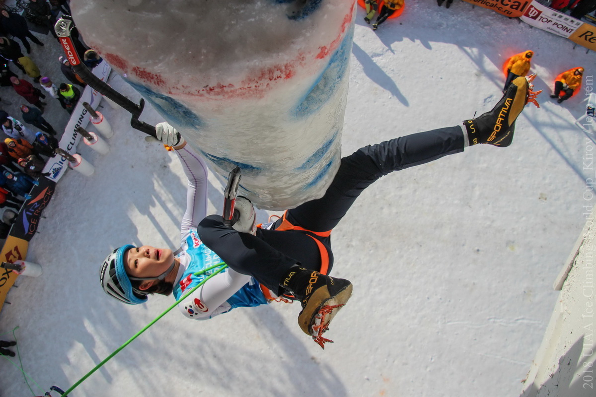 An image from a 2018 UIAA World Cup ice climbing competition. [Photo] UIAA/Kirov/Lena Tem