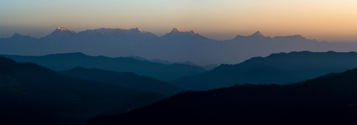Morning view of Trisul (7120m), Nanda Devi (7816m) and Nanda Kot (6861m), from Kaser Devi in the Garhwal Himalaya of India. [Photo] Coni Horler