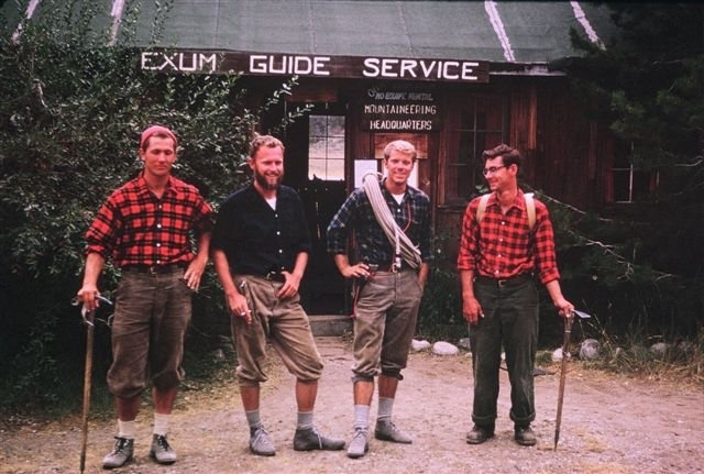 Exum Guides, from left to right: Peter Lev, Fred Wright, Al Read, Rod Newcomb, 1963. [Photo] Lev family collection
